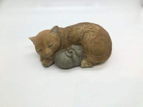 Brown Sleeping Cat with A Sleeping Mouse figurine