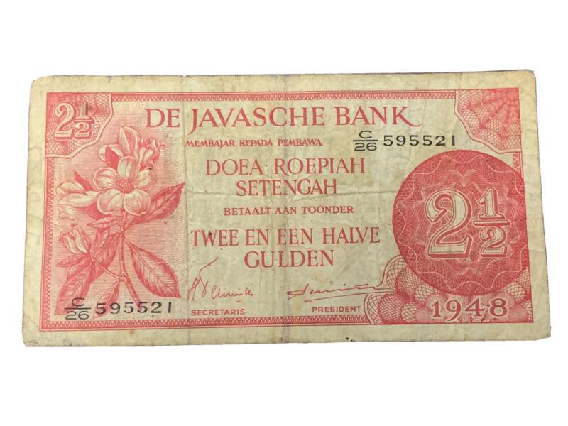 1948 NETHERLANDS INDIES JAVASCHE BANK 1/2 GULDEN