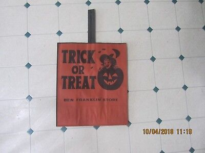 Trick Or Treat Halloween Store (Halloween Ben Franklin Stores trick or treat bag Vintage 40's or 50's (NEW))