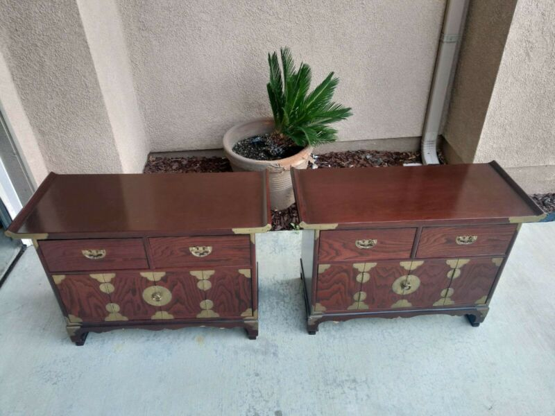 Vintage Oriental Altar Cabinet Set w/Old Chinese Script