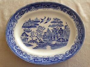 2 Antique Blue Willow Platters in Excellent Condition