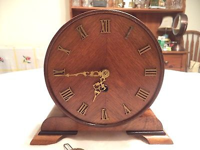 Adorable Antique Round German Working Mantle Clock - 8 Day 1930's-40's Time Only