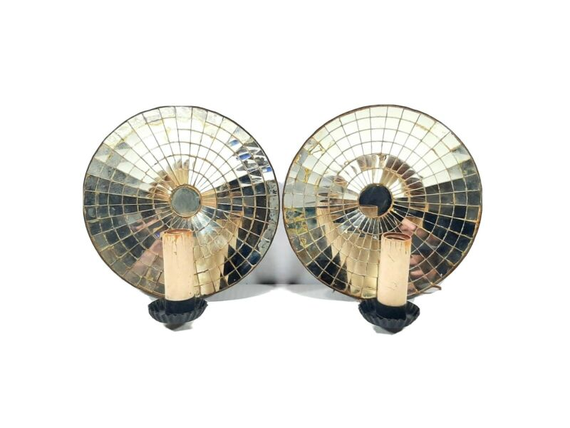 """Mirrored Mosaic Reflector Dish Wall Sconce Pair American 10"""" Round Copper Lights"""
