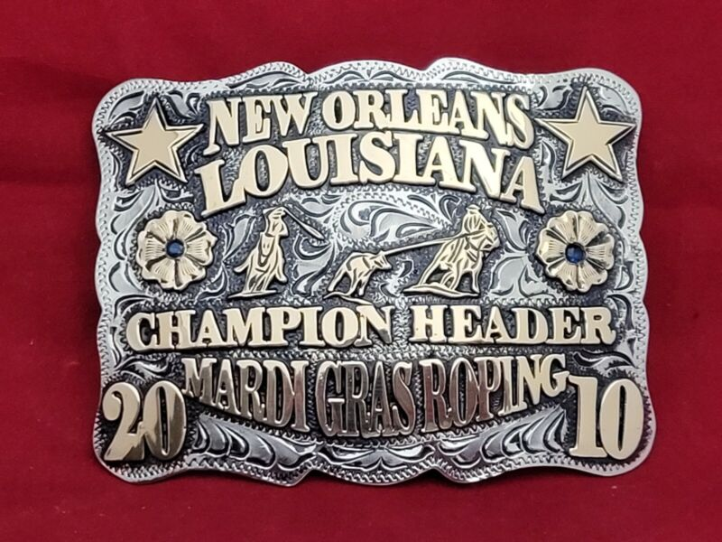NEW ORLEANS LOUISIANA TEAM ROPING CHAMPION RODEO TROPHY BUCKLE☆2010☆VINTAGE 652