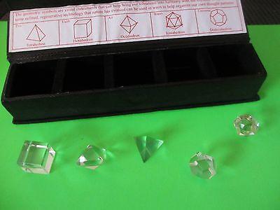 box set CLEAR QUARTZ Universe Air Earth Fire meditation stones PLATONIC SOLID