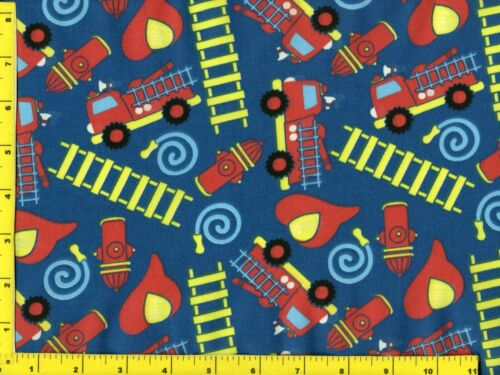 Fire Engines Ladders Firemen Equipment Blue Quilting Sewing Fabric 1/2 Yard #357