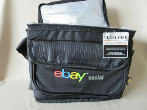New Rare eBay Social Insulated Lunch Bag Black Adjustable Front Pocket