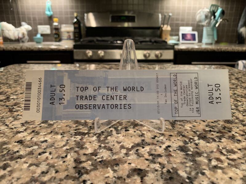 Pre 9/11 World Trade Center Observation Deck Ticket Top Of The World 07/15/01
