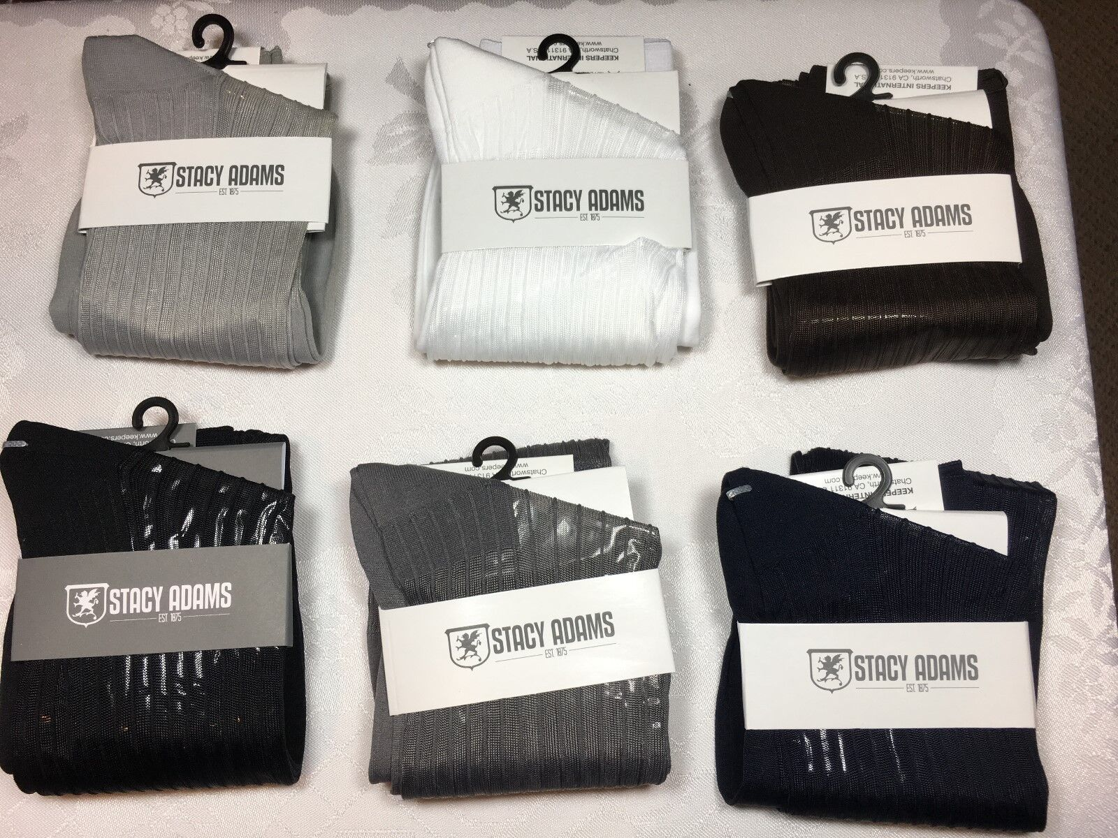 ONE NEW WITH TAG STACY ADAMS  OVER THE CALF SLICk SILKY RIBBED MEN'S DRESS SOCKS Clothing, Shoes & Accessories
