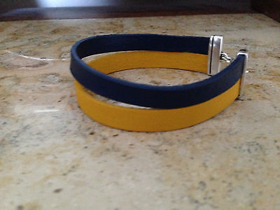 - DOUBLE STRAND GENUINE LEATHER SGR OR TRI DELTA SORORITY BLUE & YELLOW ANKLET!