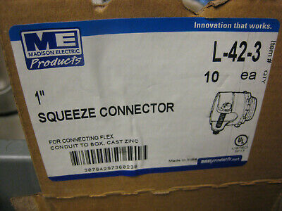 Madison Electric Squeeze Flex Male Connector 1-inch L-42-3 Lot Of 20 Yes 20