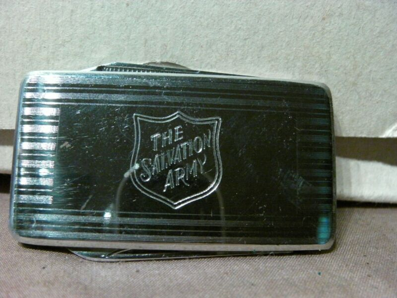1970s SALVATION ARMY STAINLESS STEEL MONEY CLIP POCKET KNIFE ENGRAVED SHIELD NIB