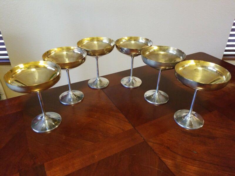 Vintage Silverplate Silver & Gold Champagne Glasses Goblets Spain Set Of 6