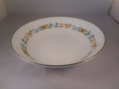 Coupe Soup Bowl, Royal Doulton China, Pastorale Pattern (H5002), Floral, Silver Floral Coupe Soup Bowl