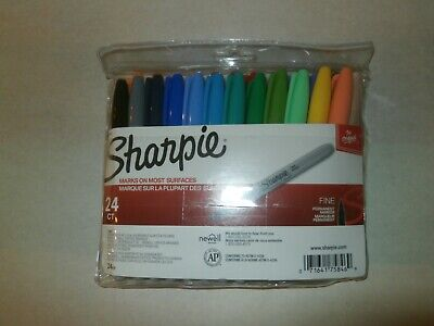 New 24 Count Sharpie Permanent Markers Fine Point Assorted Colors