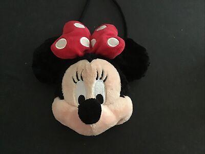 Vintage Minnie Mouse Face Plush Purse Disney Land Hand Bag Coin Purse Christmas