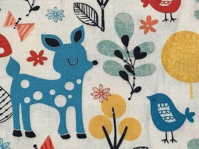 Fabric Woodland Deer Owl in Acorn Forest on White Cotton by the 1/4 yd - Woodland Owl