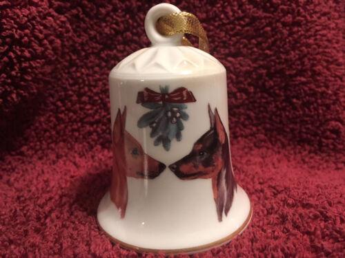 Porcelain Winter Design Bell with Dog - Miniature Pinscher