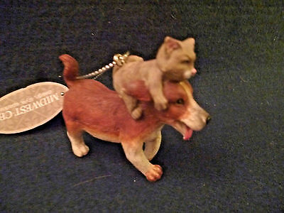 Hallmark Gift Bag  Handpainted  Playful Cat Riding A Dog Ornament  NEW