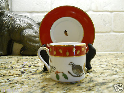 Lynn Chase Winter Game Birds Red Demitasse Cup and Saucer set FREE SHIPPING