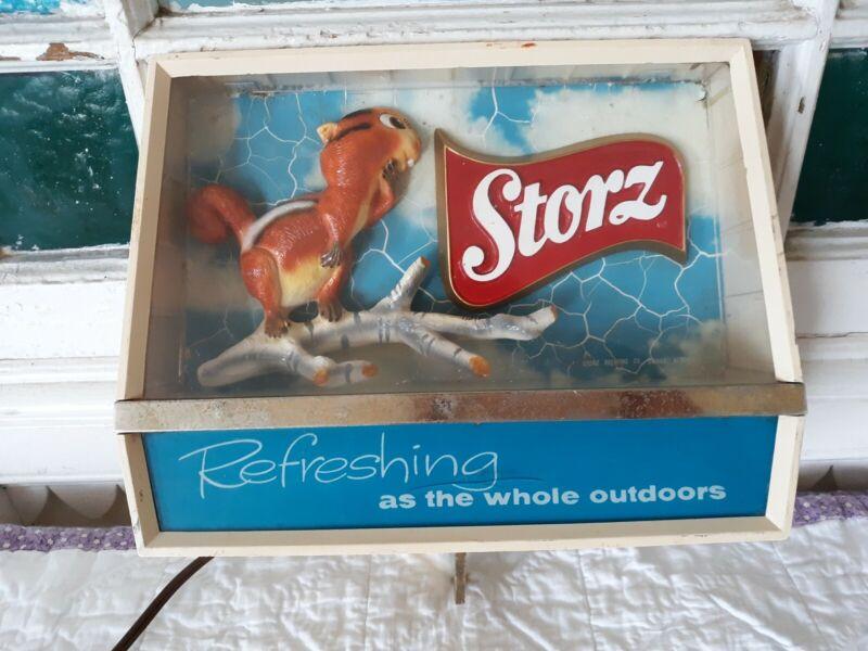 RARE Vintage Storz Beer Bar Light Bar Sign Chipmunk works