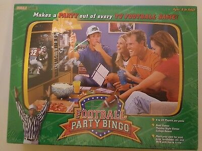 Football Party Bingo Board Game by Talicor, Factory Sealed TV Football Game, (Football Bingo)