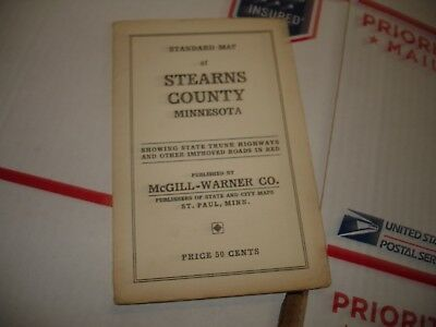 Vintage Standard Pocket Map Stearns    County Minnesota McGill-Warner  ()