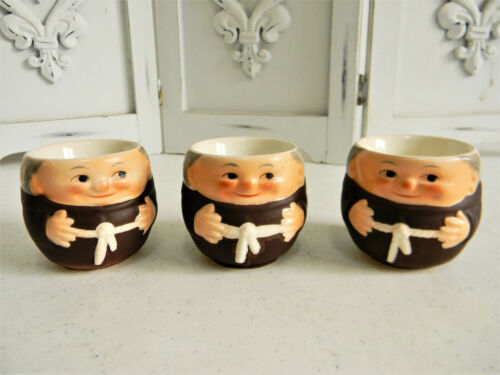 Set of 3 Vintage W. Germany Friar Tuck Monk Hand Painted Egg Cups~Signed