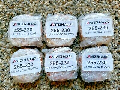 6 Qty Jantzen Audio 05mh 18 Awg Air Core Inductor Crossover Coil 255-230 33ohm