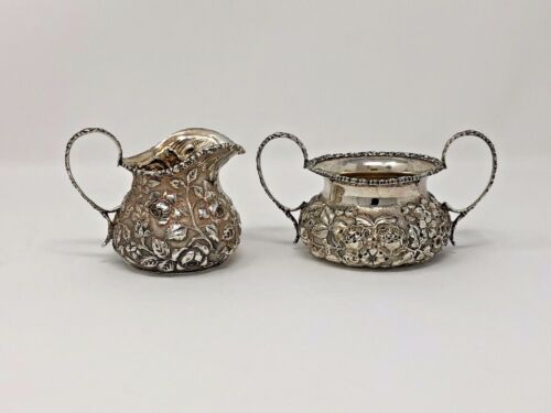 Antique Circa 1910 Stieff Sterling Silver Repousse Creamer & Sugar Set