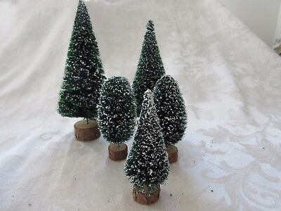 Vintage Bottle Brush Christmas Trees set of 5 for Trains etc.
