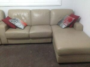 Leather Beige L shaped lounge Flinders Shellharbour Area Preview