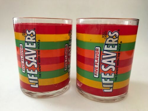 2 Vintage Life Savers Candy Colorful Ceraglass Drinking Glasses Glass Cups