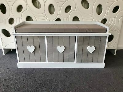 Vintage Wooden Storage Unit Bench Seat Shabby Chic Drawers Cushion Wicker ()