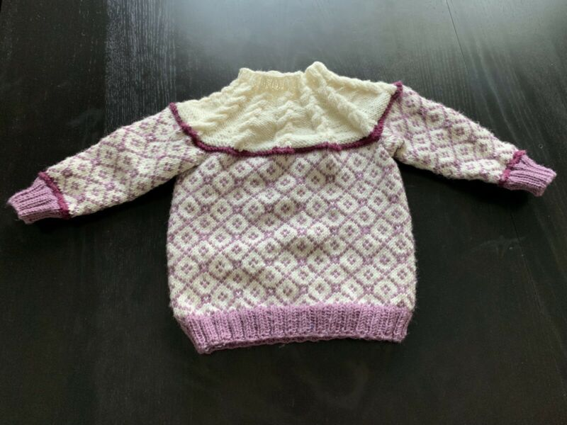 Handmade Norwegian Sweater 100% Wool Purple Ivory Child Size Mock Turtleneck