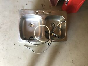 Kitchen Double Stainless Steel Sink and Faucet