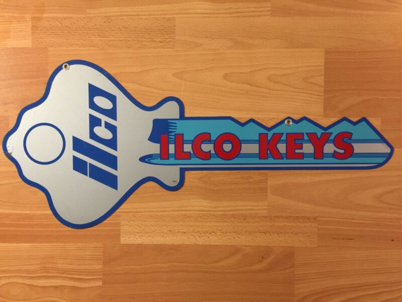 Vintage Double Sided Die Cut Metal Ilco Keys Hardware Store Advertising Key Sign