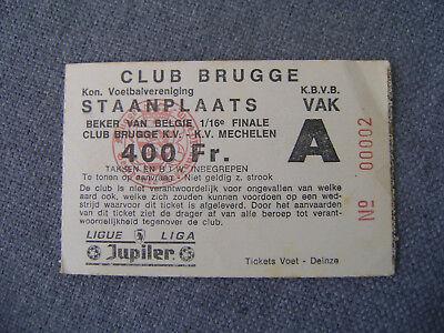 TICKET  CLUB BRUGGE - KV MECHELEN  BEKER VAN BELGIE  1/16 FINALE
