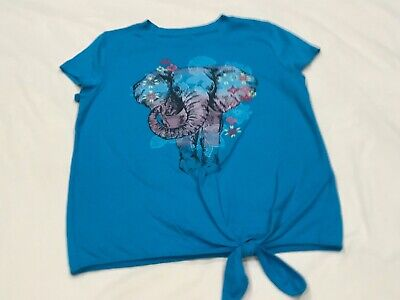 ABERCROMBIE KIDS GIRLS AQUA BLUE ELEPHANT TOP SIZE 9/10