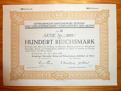 D: Königsberger Hartungsche Zeitung, Königsberg i.Pr., 1928, 100 RM, kein BAROV*