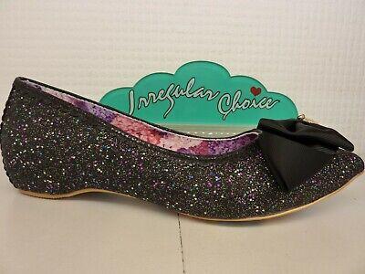 Irregular Choice Mint Slice Black Glitter Bow Flat Slip On Ladies Shoe