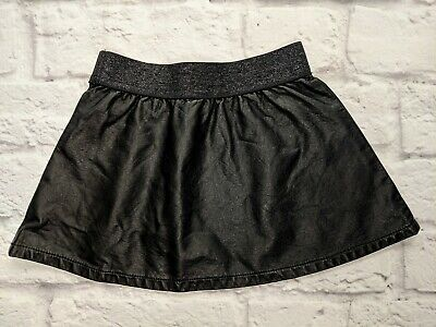 Genuine Kids Oshkosh Baby Girl Faux Leather Skirt 18 Months Black Elastic Waist