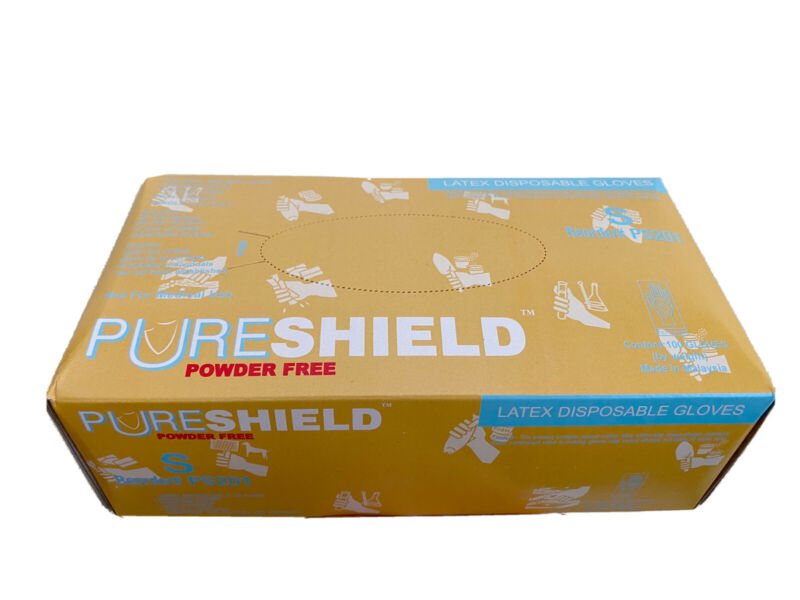 PURESHIELD LATEX DISPOSABLE GLOVES, POWDER FREE, SIZE S, 100CT/BOX