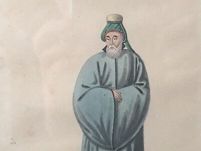 Zeichnung Aquarell Kostüm Türkisch XIX Antik Paint Turkish Gemälde Mittel Orient