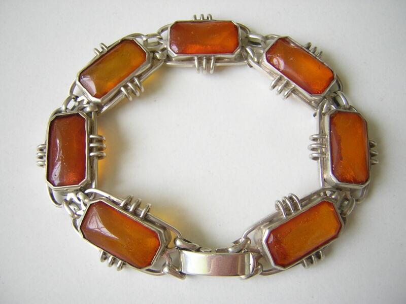 Antique Nature Amber Bracelet Honey Rectangles 835 Silver Genuine Amber 0.9oz