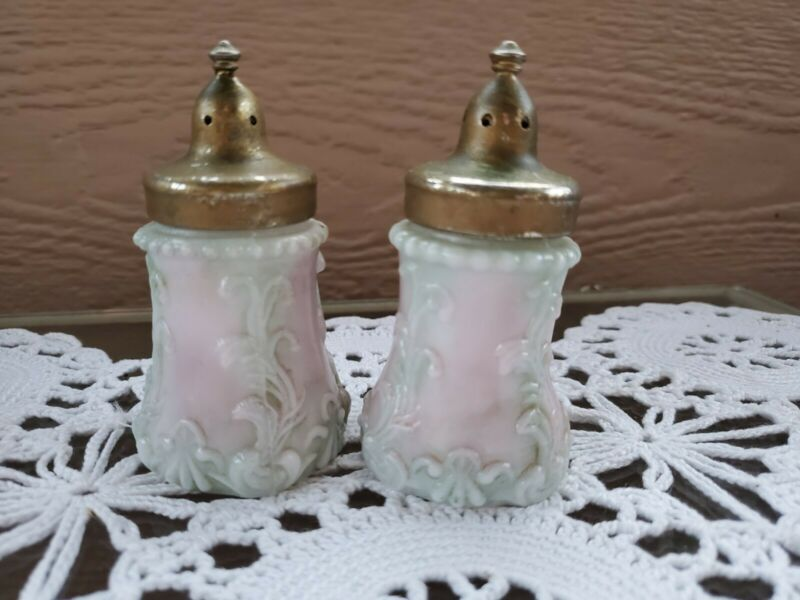 Vintage Antique Salt & Pepper Shakers Beaded Milk Glass Scrolls Green Pink Brass