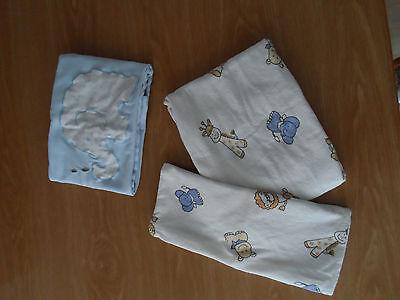 Kissenbezüge für Baby 3 Stck.   80 x 74 cm +   39 x 33 cm  Hellblau + wollweiß