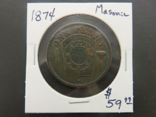 1874 One Penny Masonic Token Le Roy, MN Le Roy Royal Arch Chapter No. 24, R.A.M.