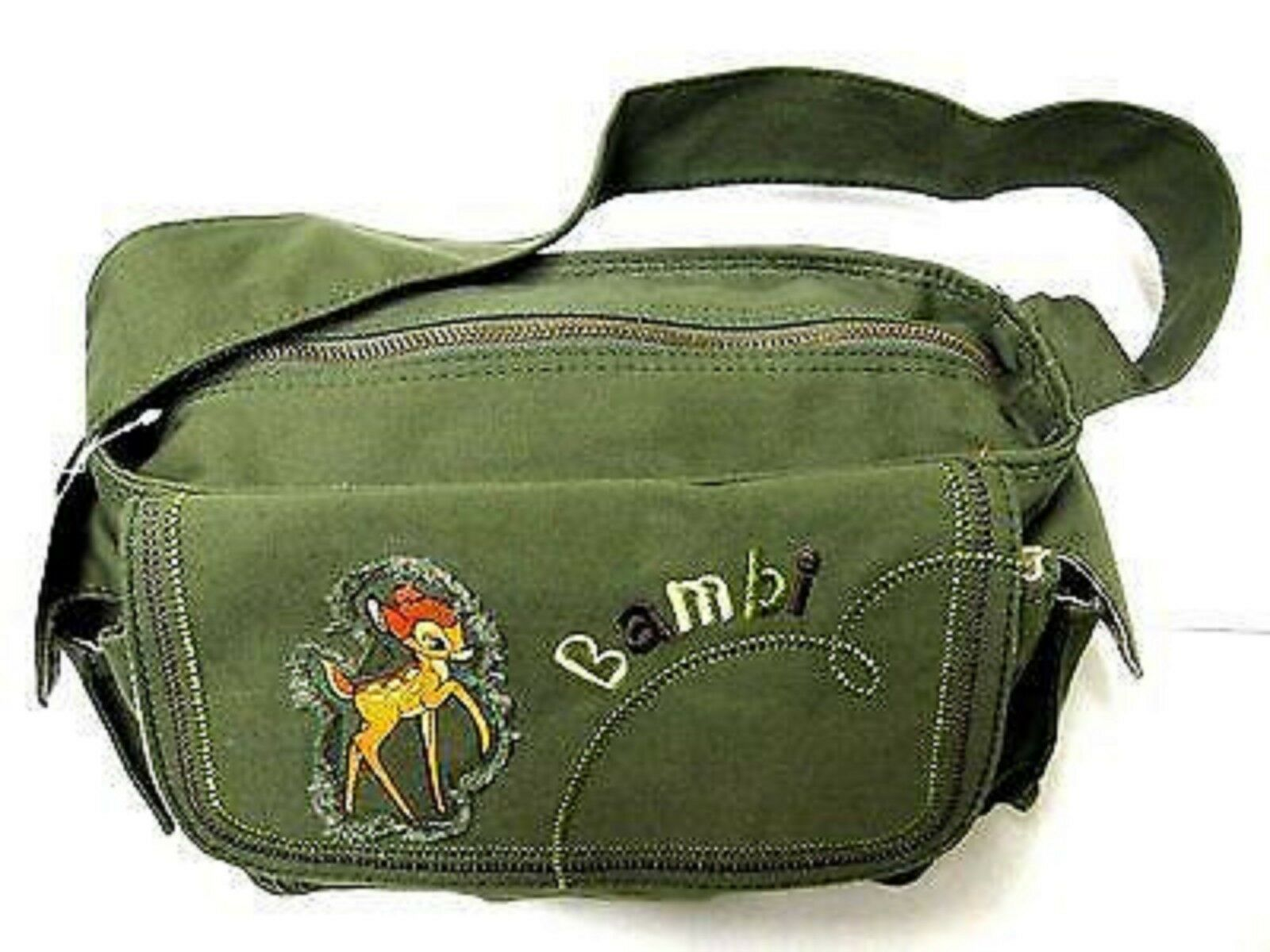 Disney Bambi Army Green Waist Fanny Pack//Carry Bag w Adjustable Strap