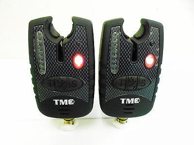 2 x Carp Bite Alarms - RED Running LED's, Dropbacks, 2.5mm Jacks, Latching LED